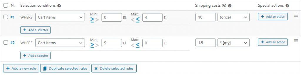 Comparisor operators on shipping rules