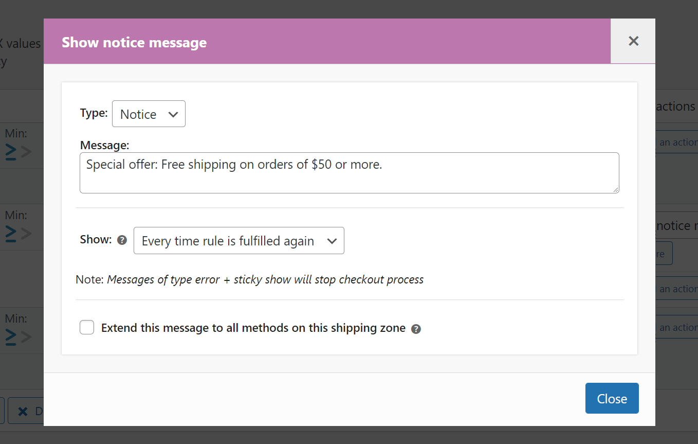 Custom cart message giving free shipping when cart totals exceeds 50$