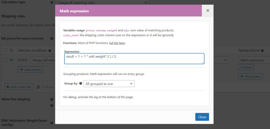Math expressions: round up every half kilo of weight